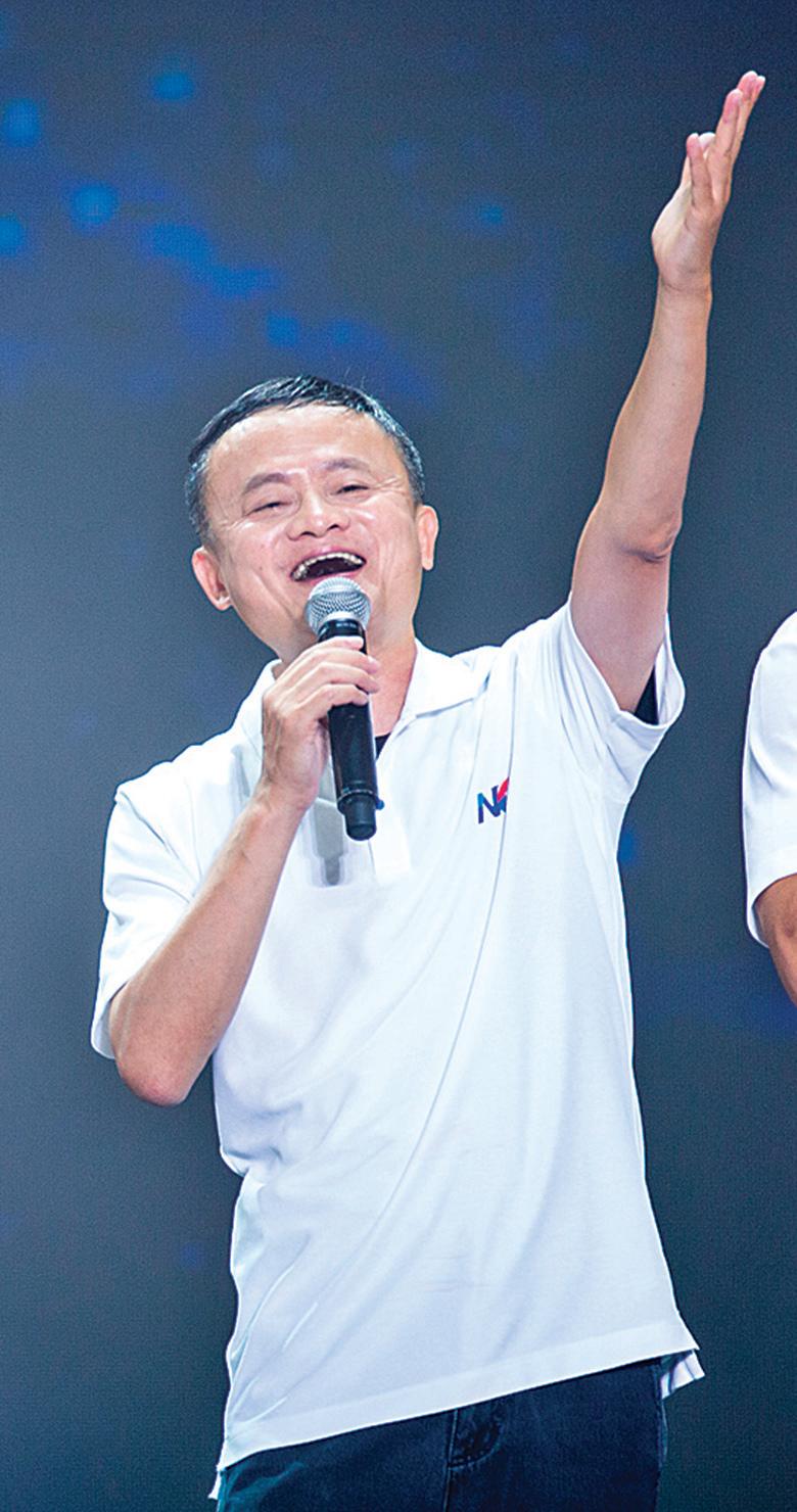 9月10日,杭州阿里巴巴20周年年會,馬雲與阿里巴巴高管一起高歌。(大紀元資料室)