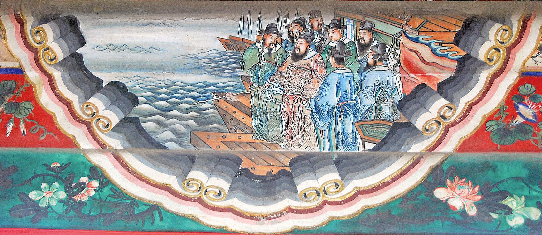 頤和園長廊彩繪:曹操執槊賦詩,吟誦《短歌行》(Shizhao/Wikimedia Commons)
