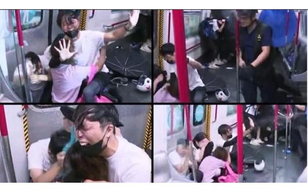 8月31日晚,警方速龍小隊衝入太子站月台及車廂無差別毆打乘客,有乘客求饒,警察仍繼續用警棍暴打及噴胡椒噴霧。(大紀元及推特截圖)
