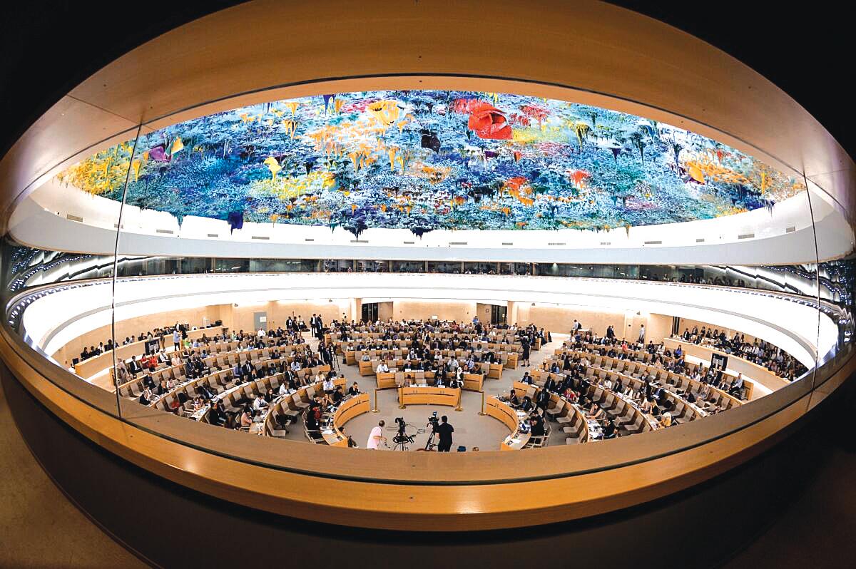 聯合國人權理事會在日內瓦的辯論會場。(FABRICE COFFRINI/AFP/Getty Images)