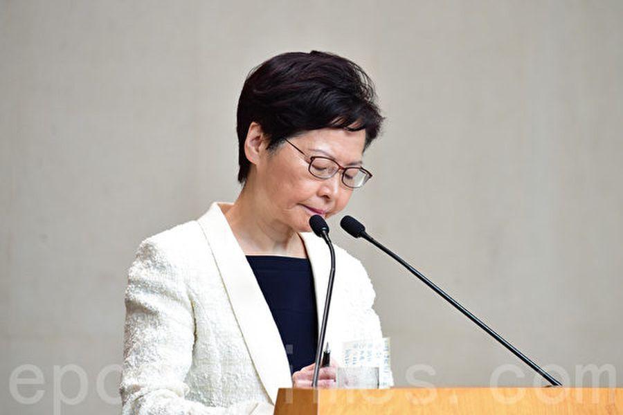 中共政府正在制定一項計劃,在明年3月前將香港特首林鄭月娥撤下,並任命一個「臨時」行政長官。圖為香港特首林鄭月娥在9月3日的記者會上。(郭威利/大紀元)