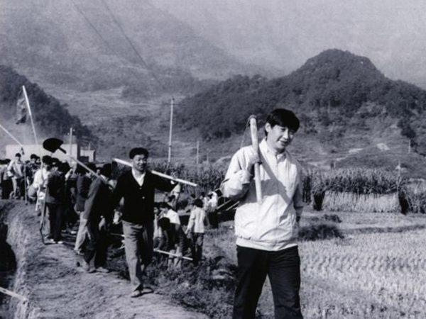習近平年輕時扛著農具的照片。(網絡圖片)