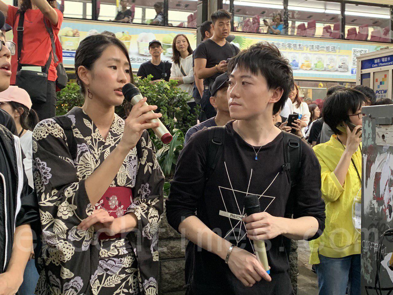 2日下午,香港市民在尖沙嘴舉行集會。來自日本的平野鈴子參與集會,表示與香港人一起堅持到最後。(葉依帆/大紀元)