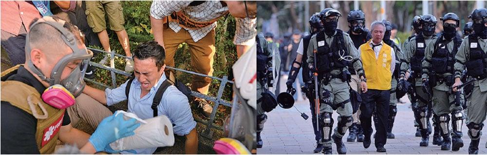 警方維園放催淚彈 拘三名區議會候選人