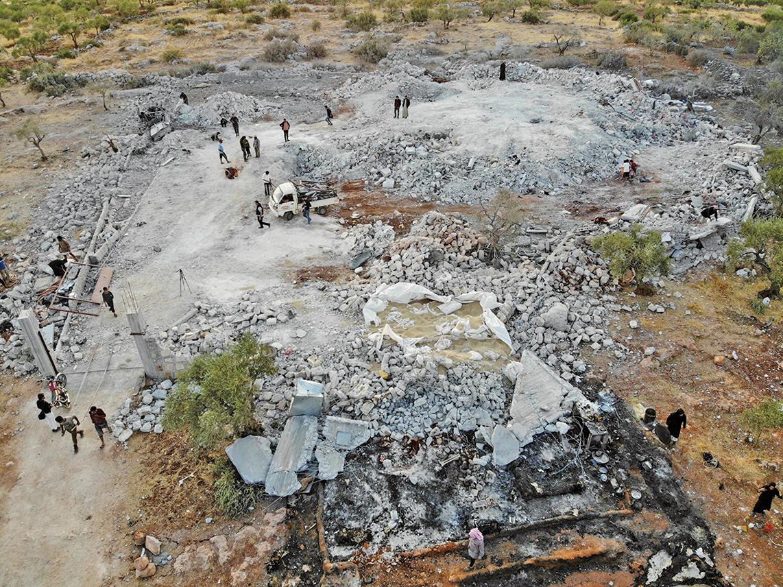 伊斯蘭國最大頭目巴格達迪(Abu Bakr al-Baghdadi)的最後據點被美軍蕩為平地。(AFP)