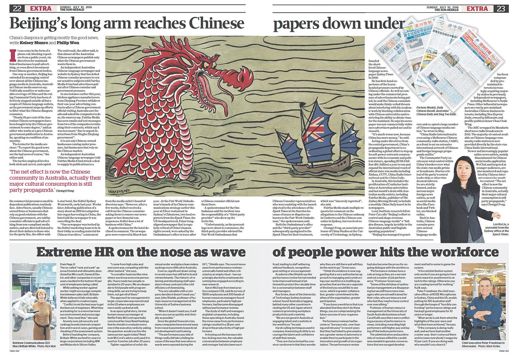 《太陽先驅報》7月10日關於中共對海外中文媒體控制的報紙報道。(大紀元合成)