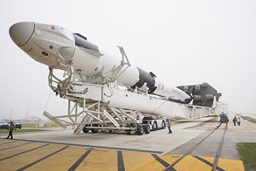 美國太空總署(NASA)將向私人和更多商業企業開放國際空間站。圖為用於商業旅行的SpaceX獵鷹9號(Falcon 9)火箭。(Joel Kowsky/NASA via Getty Images)