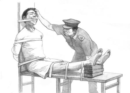 法輪功學員遭受中共酷刑迫害的示意圖。(明慧網)