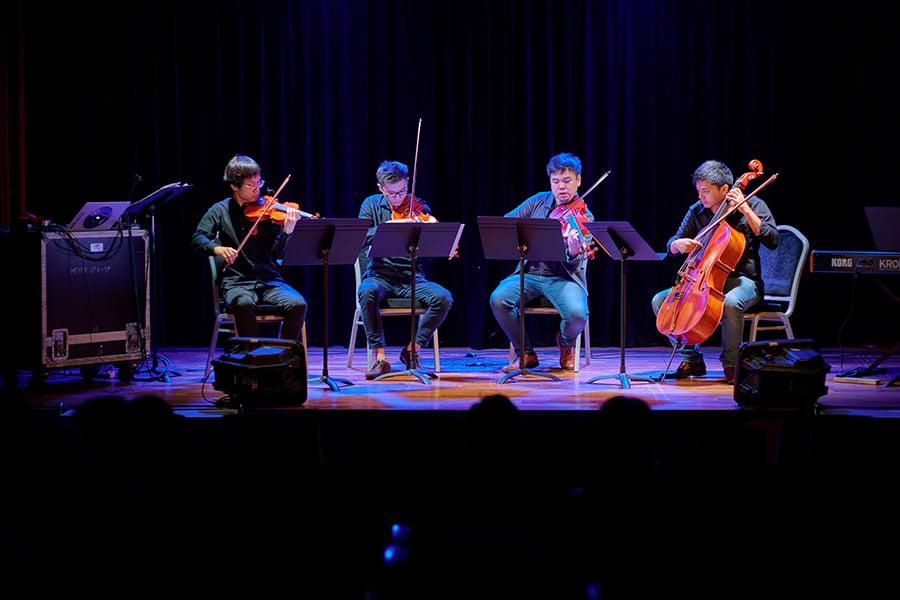 本地年青室樂團「時.刻室樂」(The Timecrafters)在亞洲協會演出。(受訪者提供)