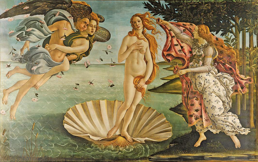 研究者認為很多藝術家很可能出於美感的直覺而自然地將對立式平衡的站姿運用於作畫和雕塑。圖為意大利文藝復興時期畫家桑德羅•波提切利最著名的作品之一《維納斯的誕生》。(維基百科)