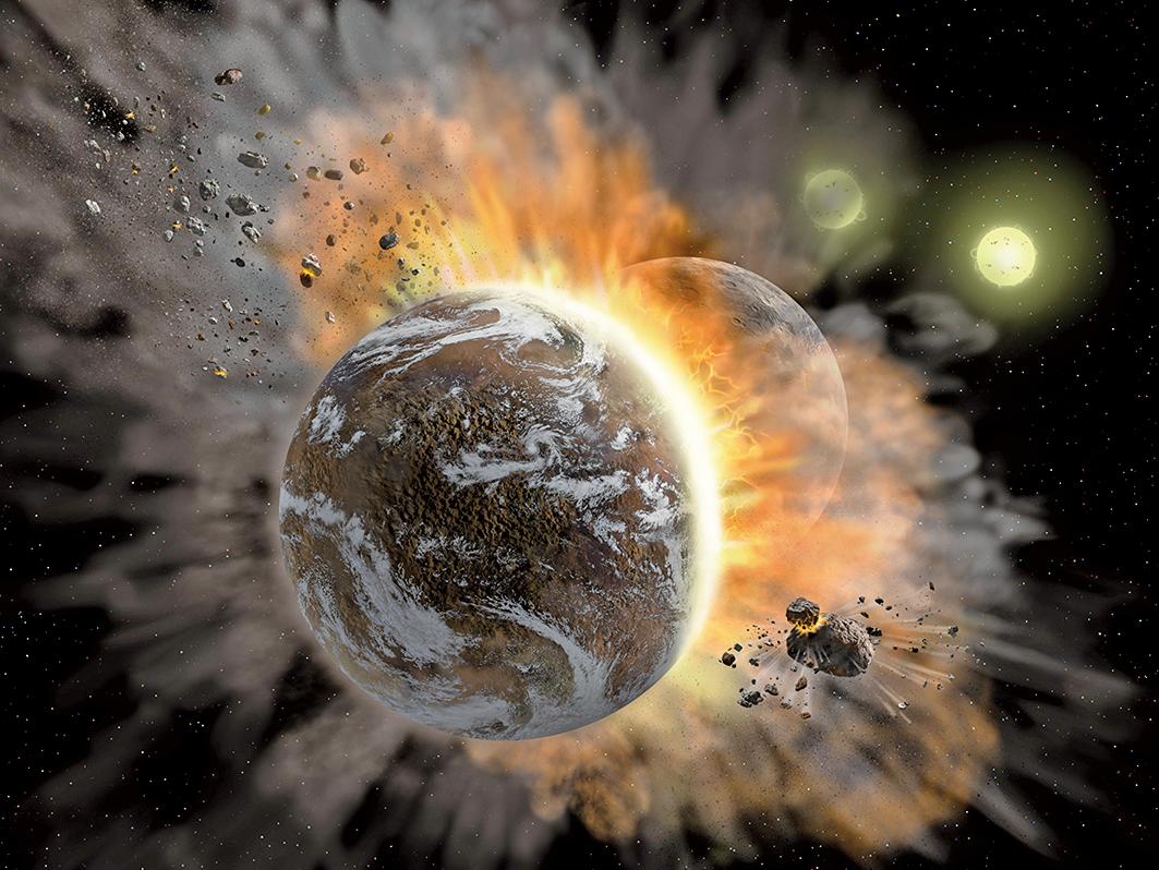 行星碰撞示意圖。(NASA/SOFIA/Lynette Cook)