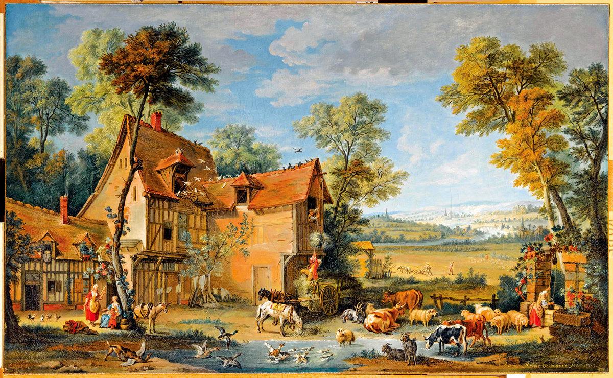《一個農場,繼讓-巴蒂斯特奧德里(Jean-Baptiste Oudry)之後》,1753年瑪麗萊什琴斯卡(Marie Leszczynska)繪製。凡爾賽宮國家博物館和特里亞農宮收藏。﹝杰拉德•凡爾賽宮/皇家宮殿(RMN-GP)﹞