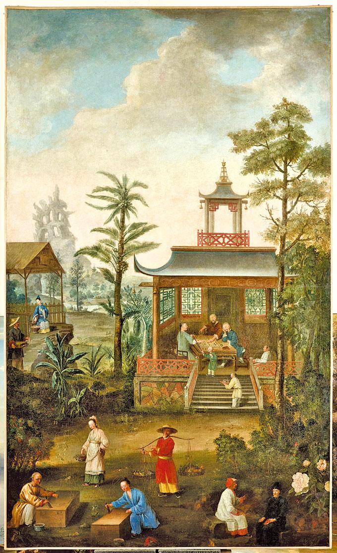 在埃蒂安尤拉特(EtienneJeaurat)的指導下,瑪麗萊什琴斯卡(Marie Leszczynska)、亨利科克雷特(Henri-Philippe-Bon Coqueret)、讓-馬丁弗雷杜(Jean-MartialFredou)、讓-菲利普德拉羅什(Jean-Philippe de La Roche)、讓-路易•普雷沃斯特(Jean-LouisPrevost)創作的《中國商會》畫作。 布面油畫。 凡爾賽宮國家博物館和特里亞農宮收藏。﹝克里斯托弗福因/凡爾賽宮(RMN-GP)﹞