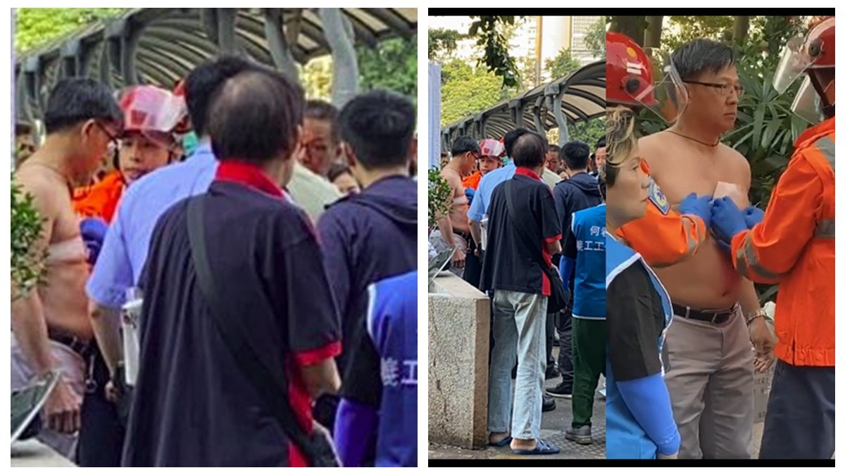 被外界視為7.21元朗恐襲幕後黑手的香港親共立法會議員何君堯,6日早上在屯門啟豐園商場遭人刺傷送院。(合成圖片)