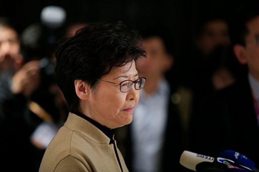11月5日,林鄭在上海參加一個新聞發佈會。 (ALY SONG/AFP via Getty Images)