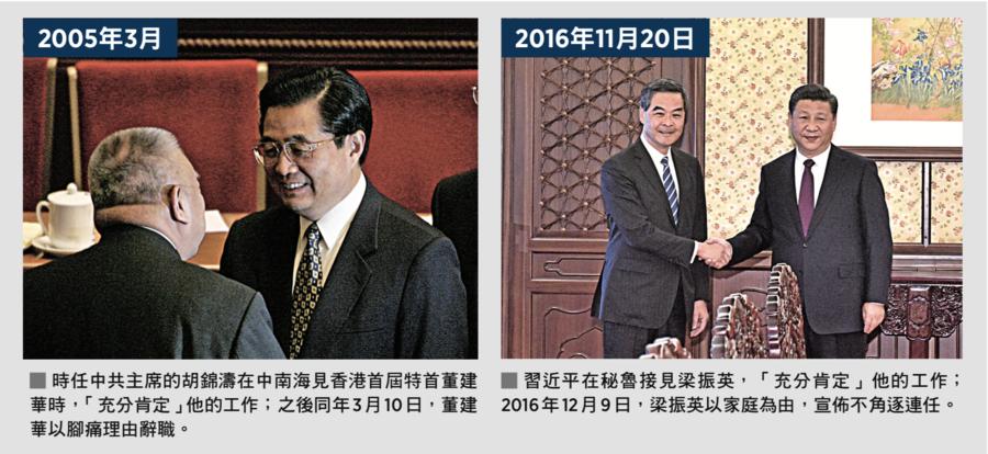 香港二任特首落台前都獲中共主席「充分肯定」