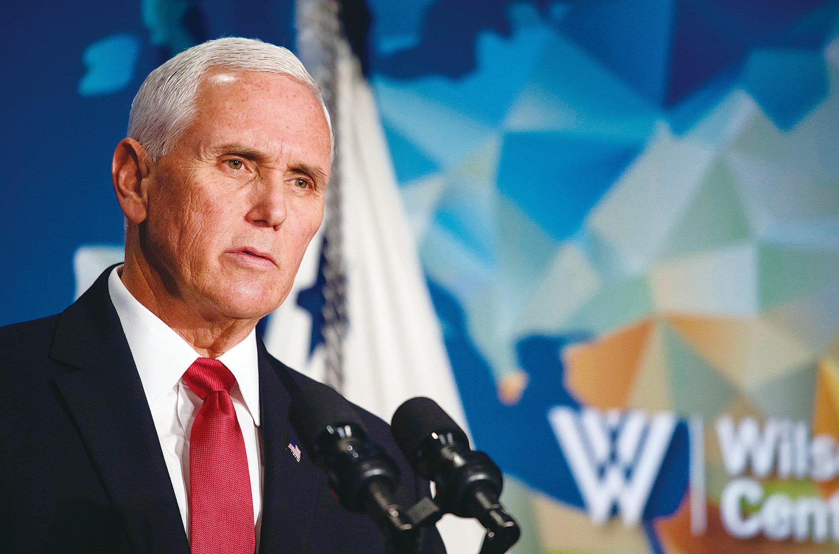 10月24日,美國副總統彭斯在華盛頓智囊威爾遜中心,就美中關係問題發表了第二次演講。這次演講的一大亮點,就是重申美國對香港反送中運動的支持。( Getty Images)