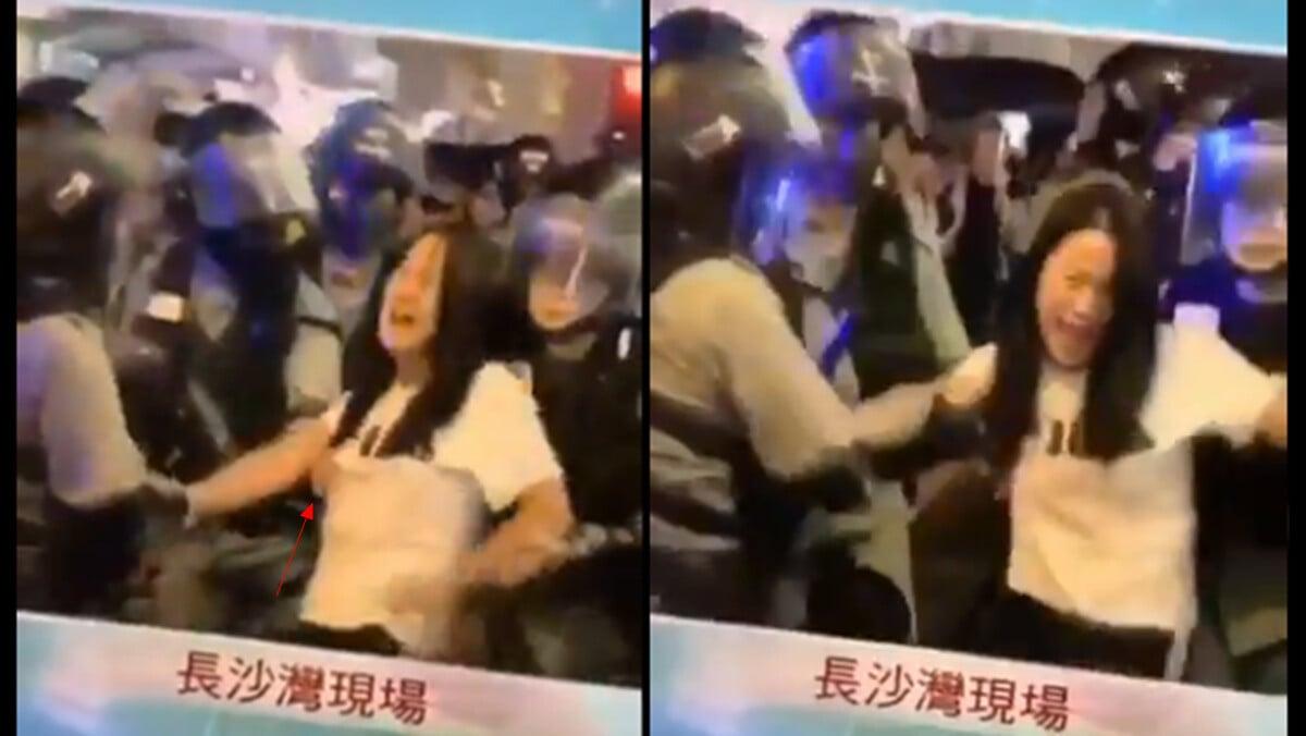 一名黑警邊一邊從後面推抱該少女,一邊不停的摸女生的胸部。(影片截圖)