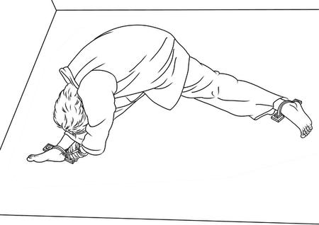 酷刑地錨示意圖:雙腿之間角度達130度,雙腿撕裂般的疼痛難忍,把兩隻手銬在一隻腳踝下的地環上,手腳緊鎖。另一隻腳緊緊銬在另一個地環上。(明慧網)