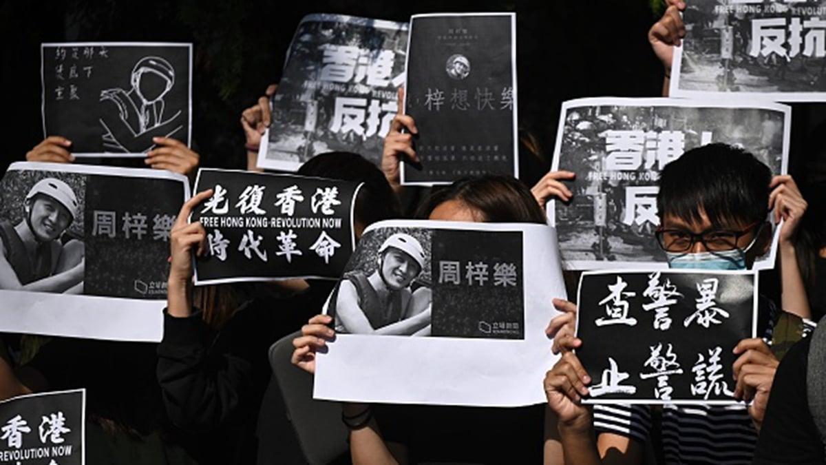 香港科大生墜亡事件疑點重重,引發新一輪抗爭熱潮。(PHILIP FONG/AFP via Getty Images)