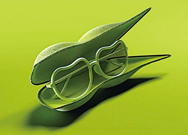 豌豆莢打開,原來是豌豆形狀的眼鏡。(supermarket kakamu Instragram)