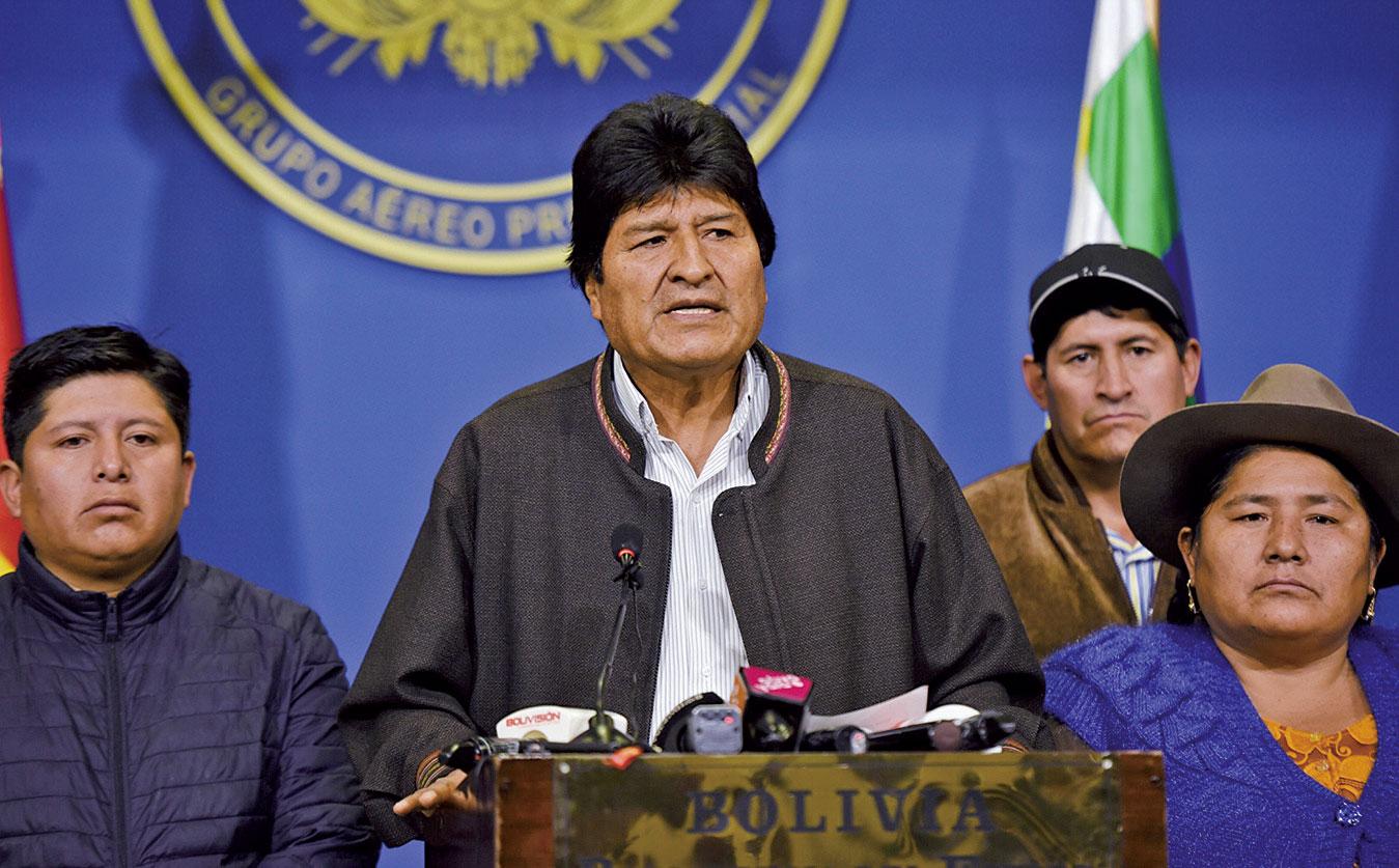 玻利維亞總統莫拉萊斯周日宣佈辭職。(AFP)