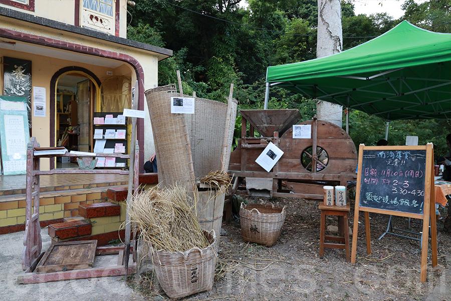 展覽期間展出的南涌農耕時代的生活用具。(陳仲明/大紀元)
