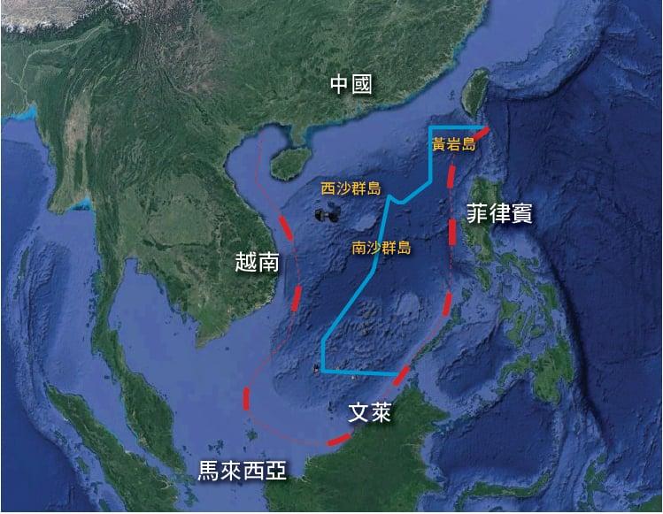 國際法庭裁定中共所主張的「九段線」(紅)領海範圍,其「歷史權利」並無法律根據。圖中藍線所劃為菲律賓主張的領海範圍。(大紀元製圖)