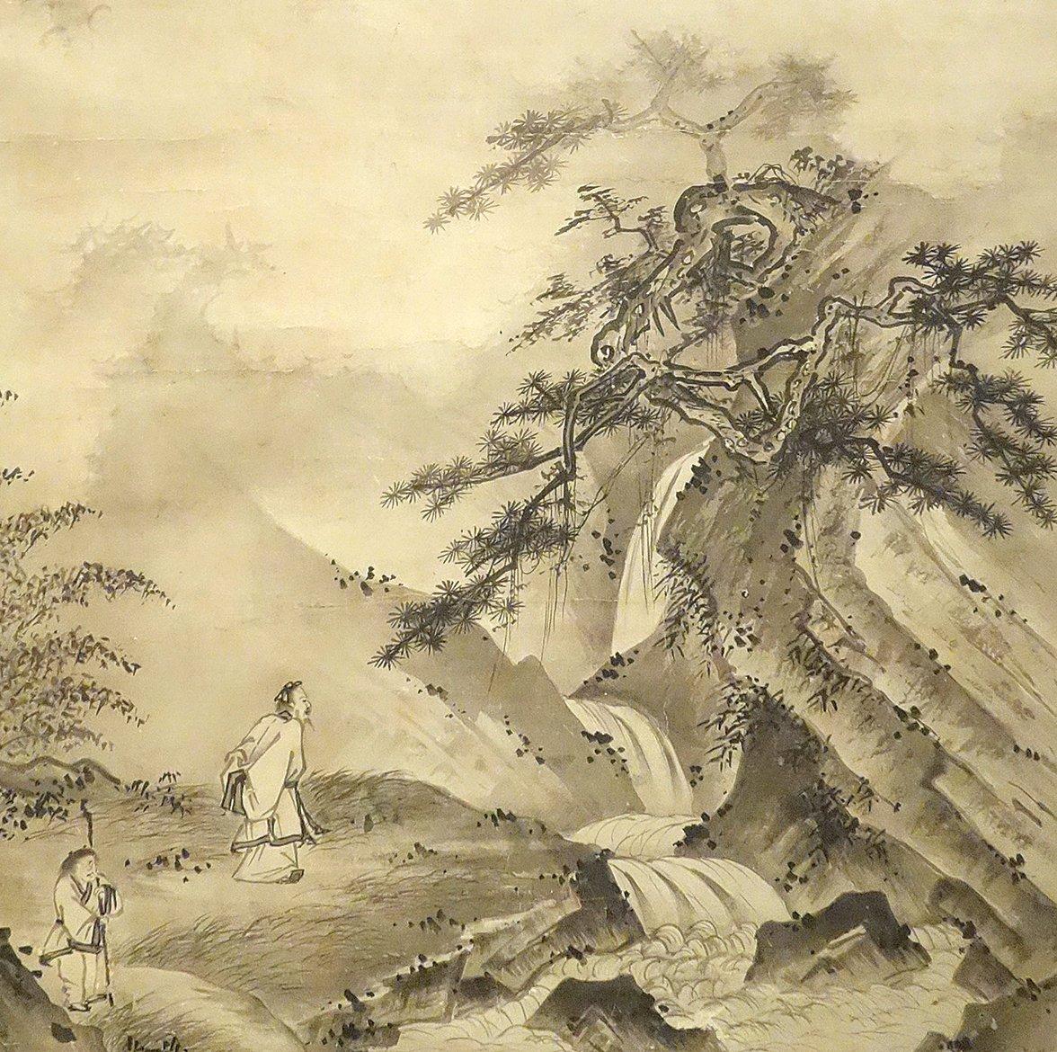 日本 相阿彌(1485–1525)繪《李白廬山觀瀑圖》軸,紙本水墨,美國舊金山藝術博物館藏(公有領域)