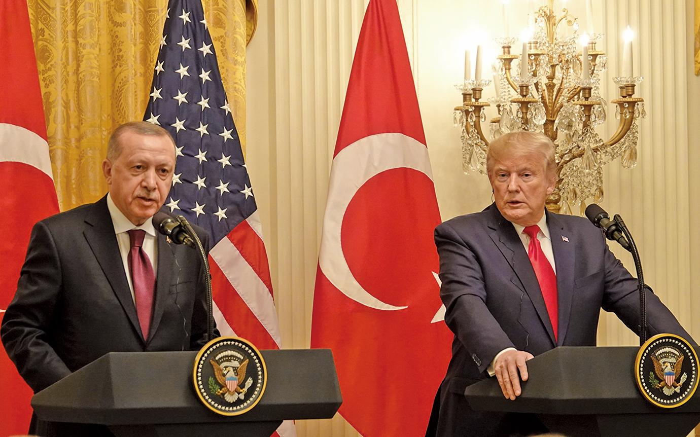 11月13日下午,美國總統特朗普與土耳其總統埃爾多安在白宮會晤後,舉行了聯合記者會。(亦平/大紀元)