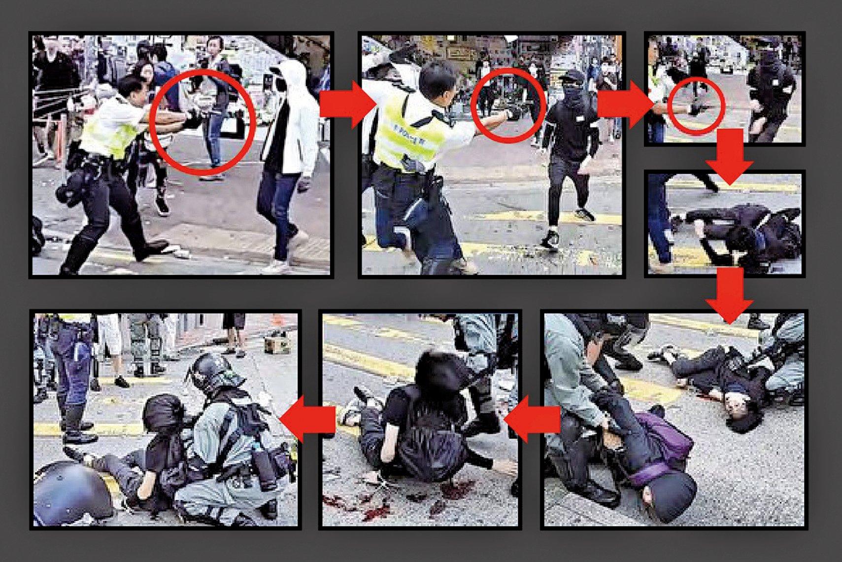 港人在雙十一發起三罷(罷工、罷課、罷市)抗爭日,演變成港警「大開殺戒」的血案日。圖為西灣河交警連開三真槍,令一名年輕人危在旦夕。(大紀元合成圖)