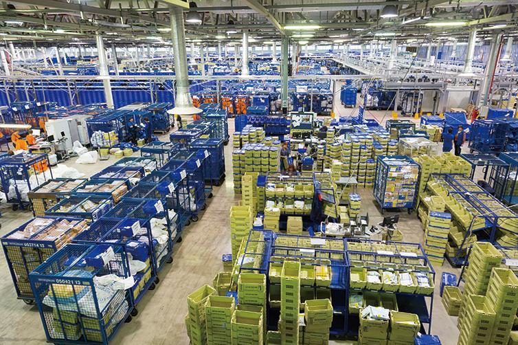 郵局的分揀信件系統。(ShutterStock)