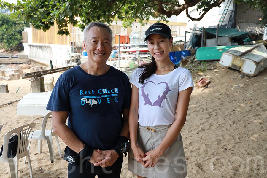 熱心於潛水清理「鬼網」的Harry Chan(左)與Hidy常常一起合作舉辦海洋清潔活動。(陳仲明/大紀元)
