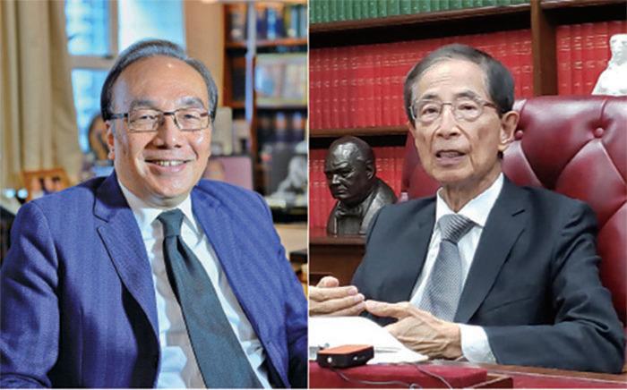 (左)梁家傑批評港澳辦和法工委的,當自己是「太上皇」,很明顯是對香港法庭不尊重。(右)李柱銘強調高院裁定《禁蒙面法》違憲是「完全正確」,法工委的聲明概念錯誤。( 郭威利、宋碧龍/大紀元)