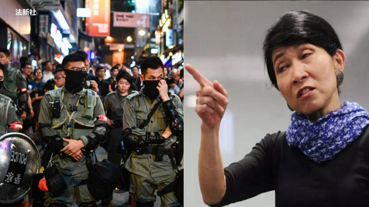 香港民主派立法會議員毛孟靜飆罵港警濫權影片,在網絡上瘋傳。(合成圖片)