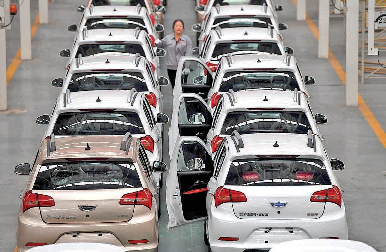 今年3月,設於福建三明永安的中科動力(福建)新能源汽車有限公司純電動汽車生產線。(大紀元資料室)