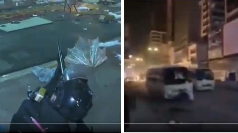 港警用突擊步槍進攻理大和開車猛撞學生的影片曝光。(影片截圖)