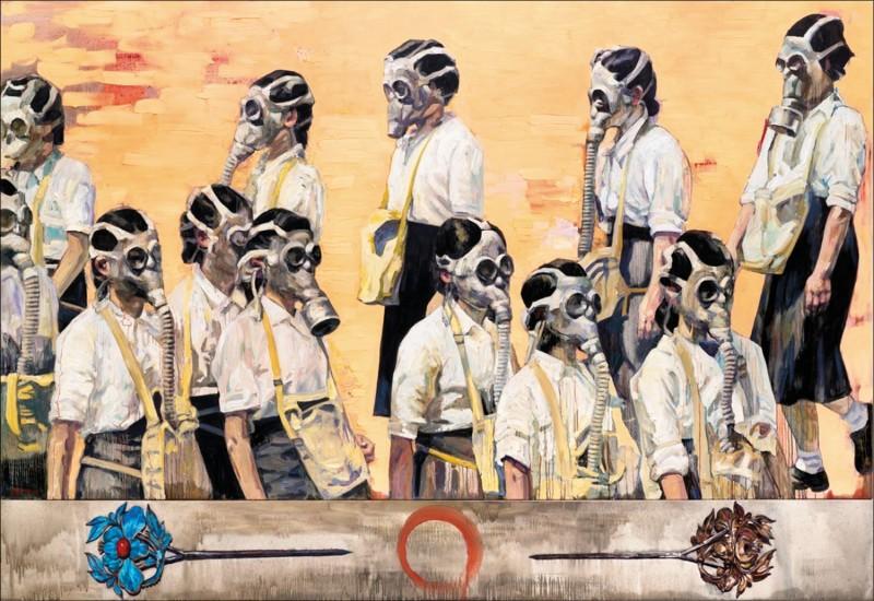 華裔美國籍藝術家劉虹的作品《金陵十二釵》被指觸碰敏感「香港」紅線,個展被取消。(紐約時報網頁截圖)