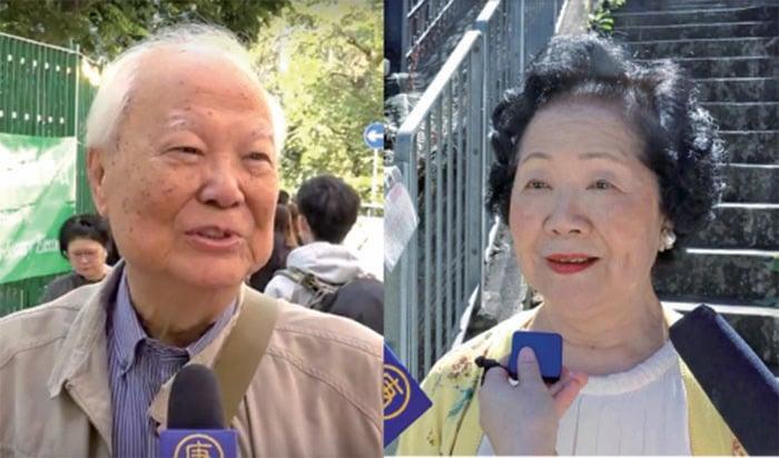 (左)市民李老先生希望香港有普選,希望通過區選選票讓港府不得不聽取民意。(駱亞 /大紀元) (右)陳方安生指,這次區選將影響明年的立法會及2022年的行政長官選舉。(梁珍/大紀元)