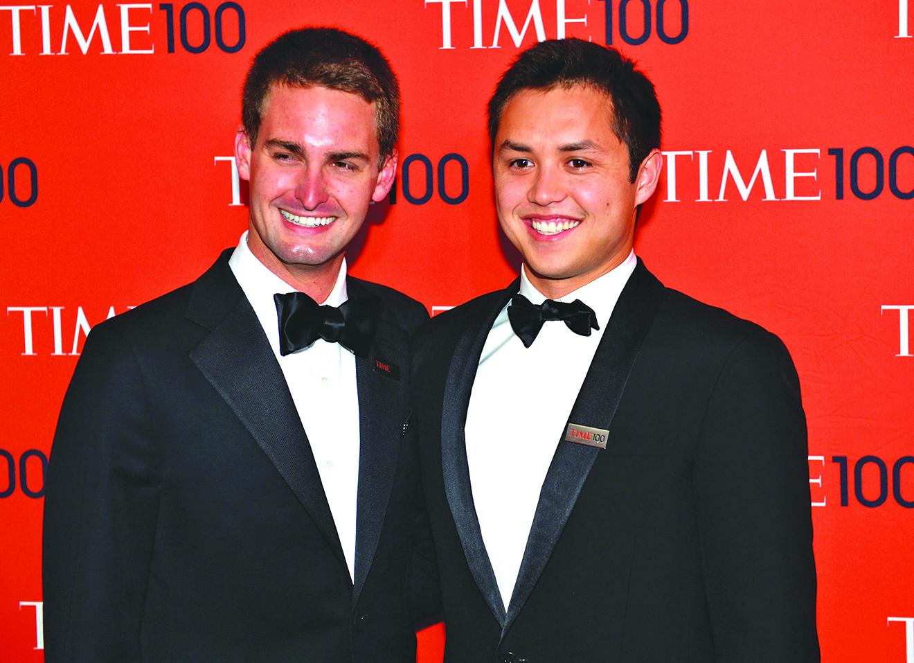 Snapchat的聯合創辦人埃文斯皮格爾(Evan Spiegel)(左)與31歲的鮑比墨菲(Bobby Murphy)(右)。