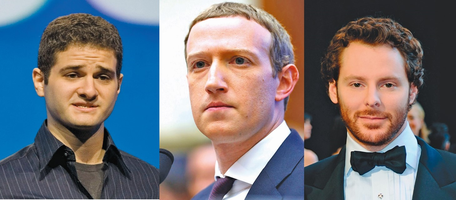 Facebook共同創辦人達斯汀莫斯科維茨(Dustin Moskovitz)(左)、馬克扎克伯格(Mark Zuckerberg)(中)、肖恩帕克(Sean Parker)(右)。