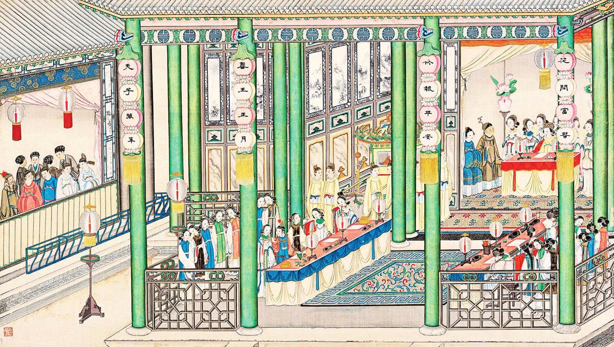 貴妃筵宴於大觀園,清孫溫繪《紅樓夢》第十八回插圖。(公有領域)