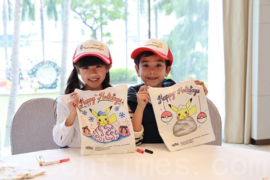 入住酒店的小朋友可以參與「環保袋工作坊」。(陳仲明/大紀元)