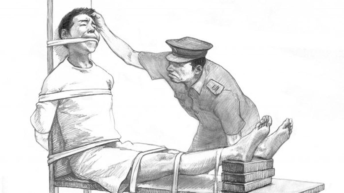 法輪功學員遭酷刑迫害示意圖。(網絡圖片)