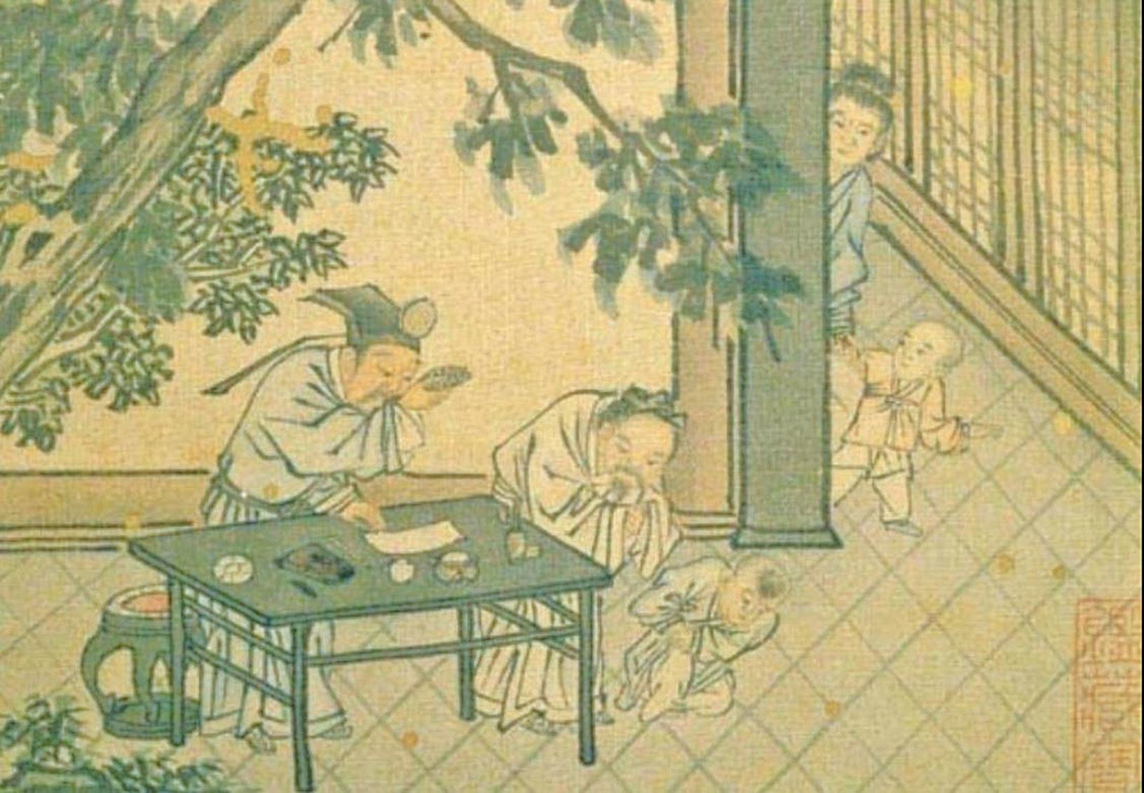 明‧戴進《太平樂事冊‧嬰戲》,台北國立故宮博物院藏(公有領域)
