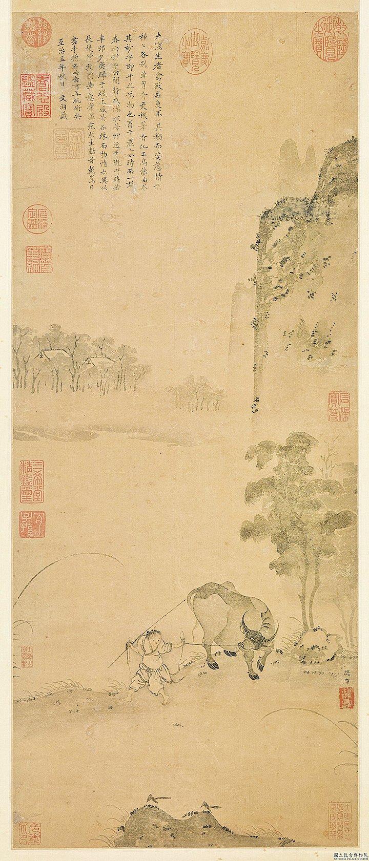 李源剛到杭州的天竺寺外,就聽到一陣歌聲。李源循聲望去,看到一個牧童正拍著牛角唱歌。圖為宋‧祁序《長堤歸牧圖》,台北國立故宮博物院藏(公有領域)