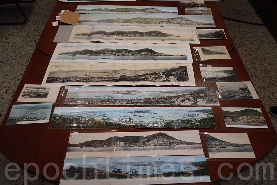 二十世紀香港全景明信片展示會,展出香港收藏家協會主席張順光收藏的多項藏品。(陳仲明/大紀元)