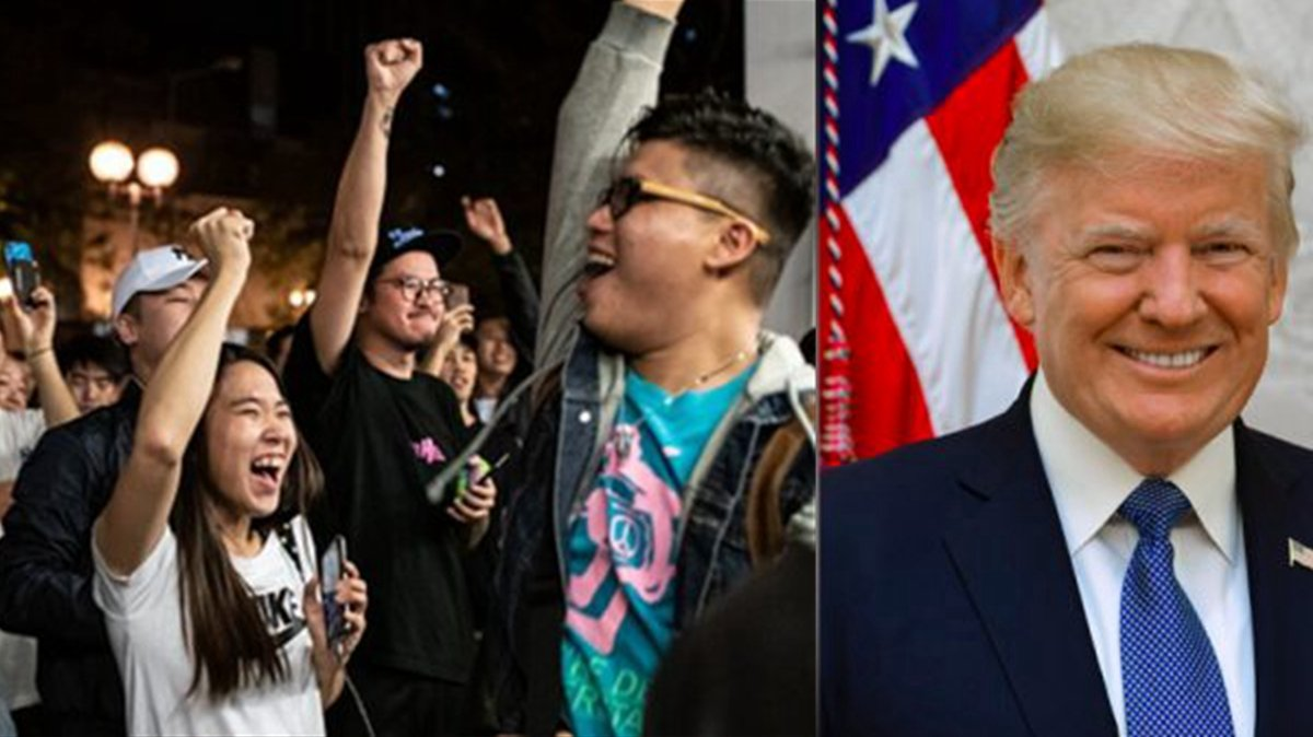 特朗普總統27日宣佈已簽署《香港人權與民主法案》,港民在網上互賀,稱之是最好的感恩節禮物。圖為資料圖片。(Getty Images/新唐人合成)