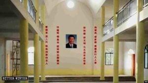 江西天主教堂掛習近平像取代聖母像