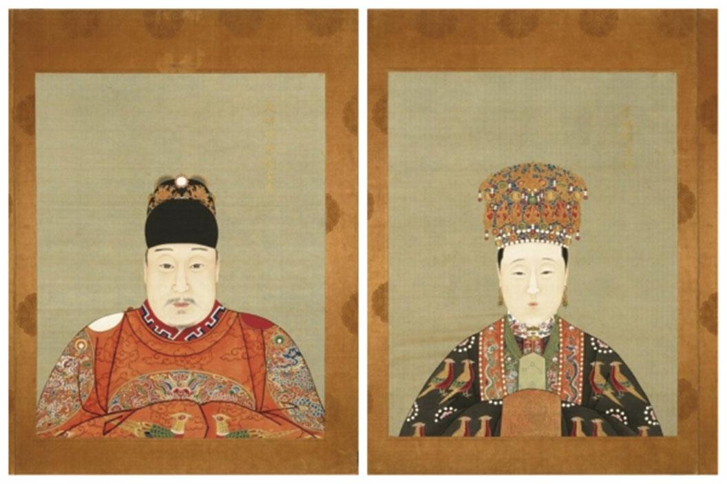 明萬曆皇帝和孝端顯皇后畫像。(公有領域)